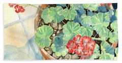 Geraniums Beach Towel