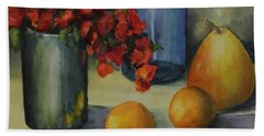 Geraniums With Pear And Oranges Beach Towel