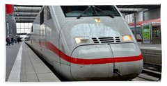 German Ice Intercity Bullet Train Munich Germany Beach Towel