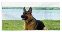 German Shepherd Dog Sitting By River Beach Towel