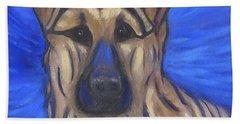 Beach Towel featuring the painting German Shepherd by Karen Zuk Rosenblatt