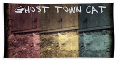 Beach Towel featuring the photograph Ghost Town Cat by Absinthe Art By Michelle LeAnn Scott