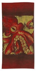 Giant Red Octopus Beach Towel