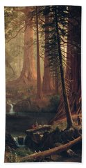 Giant Redwood Trees Of California Beach Sheet by Albert Bierstadt