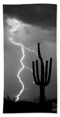 Giant Saguaro Cactus Lightning Strike Bw Beach Towel