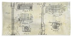 Gibson Les Paul Patent Drawing Beach Towel by Jon Neidert