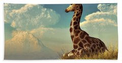 Giraffe And Distant Mountain Beach Towel