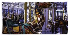 Giraffe Carousel Ride Beach Towel