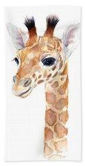 Giraffe Watercolor Beach Towel