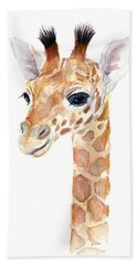 Giraffe Watercolor Beach Towel by Olga Shvartsur