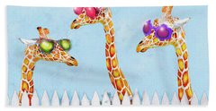 Giraffes In Sunglasses Beach Towel