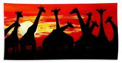 Giraffes Sunset Africa Serengeti Beach Sheet