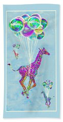 Giraffes With Balloons Beach Towel