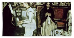 Girl At The Piano Overture To Tannhauser, 1868-69 Oil On Canvas Beach Towel
