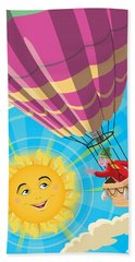 Girl In A Balloon Greeting A Happy Sun Beach Sheet