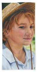 Girl In Straw Hat Beach Sheet by Lori Brackett
