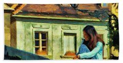 Beach Towel featuring the painting Girl Posing On Stone Wall by Jeff Kolker
