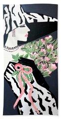 Girl That Loves Pink  Art Deco Beach Towel