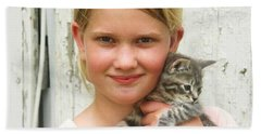 Girl With Kitten Beach Towel