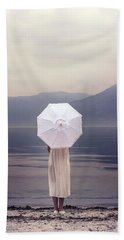 Girl With Parasol Beach Towel