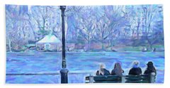 Girls At Pond In Central Park Beach Towel