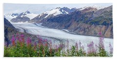 Beach Towel featuring the photograph Glacier With Fireweeds by Stanza Widen