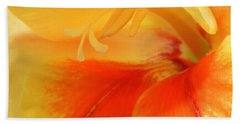 Beach Towel featuring the photograph Gladiola Hello by Deborah  Crew-Johnson
