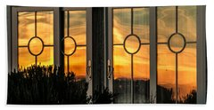 Glass Doors Aglow Beach Sheet by E Faithe Lester