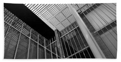 Glass Steel Architecture Lines Black White Beach Towel