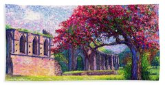 Beach Sheet featuring the painting Glastonbury Abbey Blossom by Jane Small
