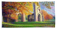 Glastonbury Abbey Fall Beach Towel by Jane Small