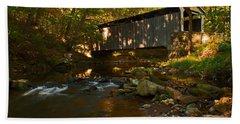 Glen Hope Covered Bridge Beach Sheet by Michael Porchik