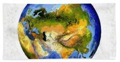 Globe World Map Beach Sheet by Georgi Dimitrov