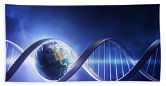 Glowing Earth Dna Strand Beach Towel