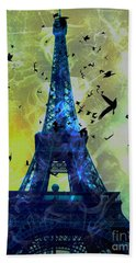 Glowing Eiffel Tower Beach Towel