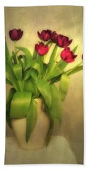 Glowing Tulips Beach Towel