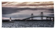 Goat Island Lighthouse And Newport Bridge Beach Sheet