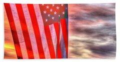 God Bless America Over Puget Sound Beach Towel