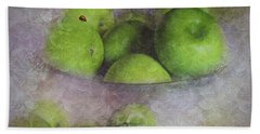 Beach Towel featuring the photograph God Made Little Green Apples by Diane Schuster