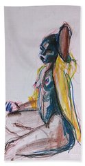 Beach Towel featuring the drawing Goddess by Gabrielle Wilson-Sealy