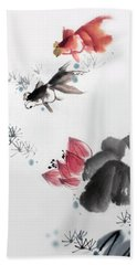 Gold Fish In Lotus Pond Beach Towel by Yufeng Wang