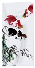 Gold Fish Beach Towel by Yufeng Wang