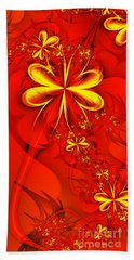 Gold Flowers Beach Towel by Lena Auxier