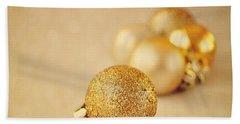 Gold Glittery Christmas Baubles Beach Towel by Lyn Randle