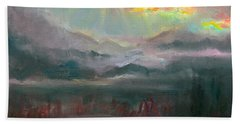 Gold Lining - Chugach Mountain Range En Plein Air Beach Sheet