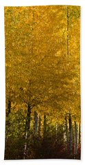 Beach Towel featuring the photograph Golden Aspens by Don Schwartz