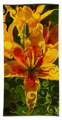 Beach Towel featuring the painting Golden Beauties by Omaste Witkowski