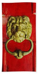 Beach Sheet featuring the photograph Golden Brass Lion On Red Door by Brooke T Ryan