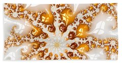 Golden Brown And White Luxe Abstract Art Beach Towel