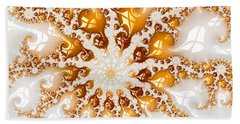 Golden Brown And White Luxe Abstract Art Beach Sheet